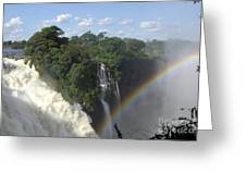 Mist And Rainbow At Victoria Falls Greeting Card