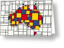 Mondrian Inspired Australia Map Greeting Card
