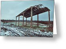 Old Barn In The Snow Greeting Card