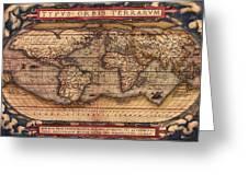 Ortelius World Map -typvs Orbis Terrarvm - 1570 Greeting Card
