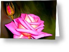 Painted Pink Rose Greeting Card