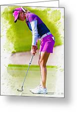 Paula Creamer Putts The Ball On The Fourth Green Greeting Card