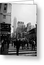 Pedestrians Crossing Crosswalk Outside Macys 7th Avenue And 34th Street Entrance New York Winter Greeting Card by Joe Fox