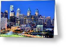 Philadelphia Skyline At Night Evening Panorama Greeting Card