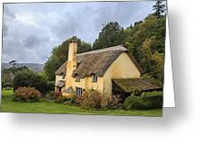 Picturesque Thatched Roof Cottage In Selworthy Greeting Card