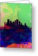 Pittsburgh Watercolor Skyline Greeting Card