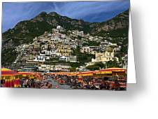 Positano Crowded Beach Greeting Card