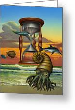 Prehistoric Animals - Beginning Of Time Beach Sunrise - Hourglass - Sea Creatures Square Format Greeting Card