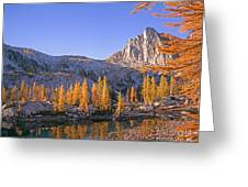 Prusik Peak Behind Larch Trees Greeting Card