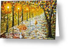 Rainy Autumn Beauty Original Palette Knife Painting Greeting Card