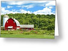Red Farmstead In Summer Greeting Card