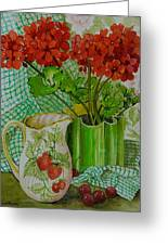 Red Geranium With The Strawberry Jug And Cherries Greeting Card