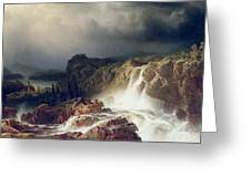 Rocky Landscape With Waterfall In Smaland Greeting Card by Marcus Larson