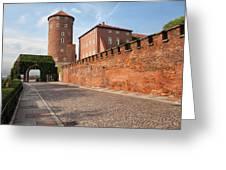 Sandomierska Tower And Wawel Castle Wall In Krakow Greeting Card