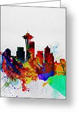 Seattle Watercolor Skyline 2 Greeting Card