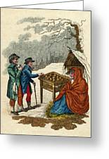 Selling Hot Spiced Apples In  Winter Greeting Card
