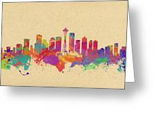 Skyline Of Seattle  Usa Greeting Card