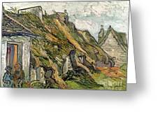 Thatched Cottages In Chaponval Greeting Card