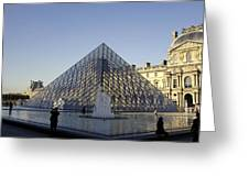 The Glass Pyramid Of The Musee Du Louvre In Paris France Greeting Card