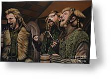 The Hobbit And The Dwarves Greeting Card by Paul Meijering