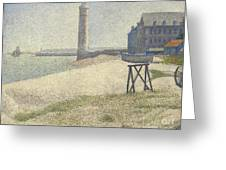 The Lighthouse At Honfleur Greeting Card by Georges Pierre Seurat