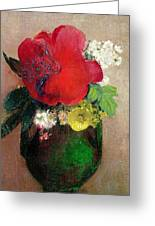 The Red Poppy Greeting Card by Odilon Redon
