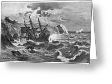 The Wreck Of The Caravel  'santa Greeting Card