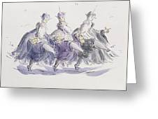 Three Kings Dancing A Jig Greeting Card
