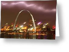 Thunderstorm Over The Arch Greeting Card