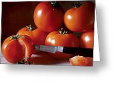Tomatoes And A Knife Greeting Card