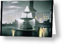 Trafalgar Square At Night  Showing Greeting Card