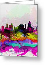Tulsa Watercolor Skyline Greeting Card