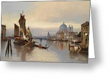 Venetian Scene With A View Of Santa Maria Della Salute Greeting Card