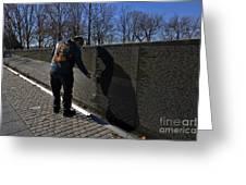 Vietnam Veteran Pays Respect To Fallen Soldiers At The Vietnam War Memorial Greeting Card