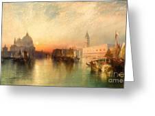 View Of Venice Greeting Card by Thomas Moran