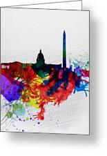 Washington Dc Watercolor Skyline 1 Greeting Card by Naxart Studio