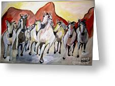 Wild Mustangs Greeting Card by Sidney Holmes