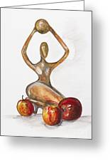 Woman In The African Style  With Red Apples Greeting Card by Irina Gromovaja