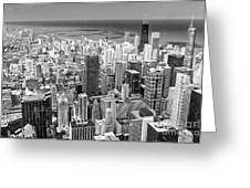 0036 Chicago Skyline Black And White Greeting Card