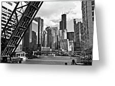 0365 North Branch Chicago River Black And White Greeting Card