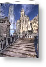 0499 Trump Tower And Wrigley Building Chicago Greeting Card