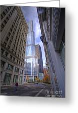0527 Trump Tower From Wrigley Building Courtyard Chicago Greeting Card