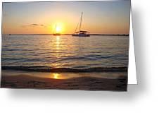 0531 Sailboats At Sunset On Sound Greeting Card