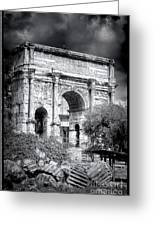 0791 The Arch Of Septimius Severus Black And White Greeting Card