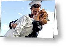 Closeup Nurse And Sailor Kissing Statue Unconditional Surrender Greeting Card
