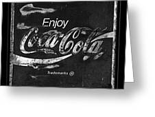 Coca Cola Sign Black And White Greeting Card