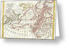1772 Vaugondy  Diderot Map Of Alaska The Pacific Northwest And The Northwest Passage Greeting Card
