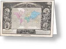 1852 Levasseur Map Of The World Greeting Card