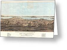 1856 Henry Bill Map And View Of San Francisco California Greeting Card