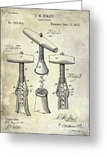 1883 Corkscrew Patent Drawing Greeting Card